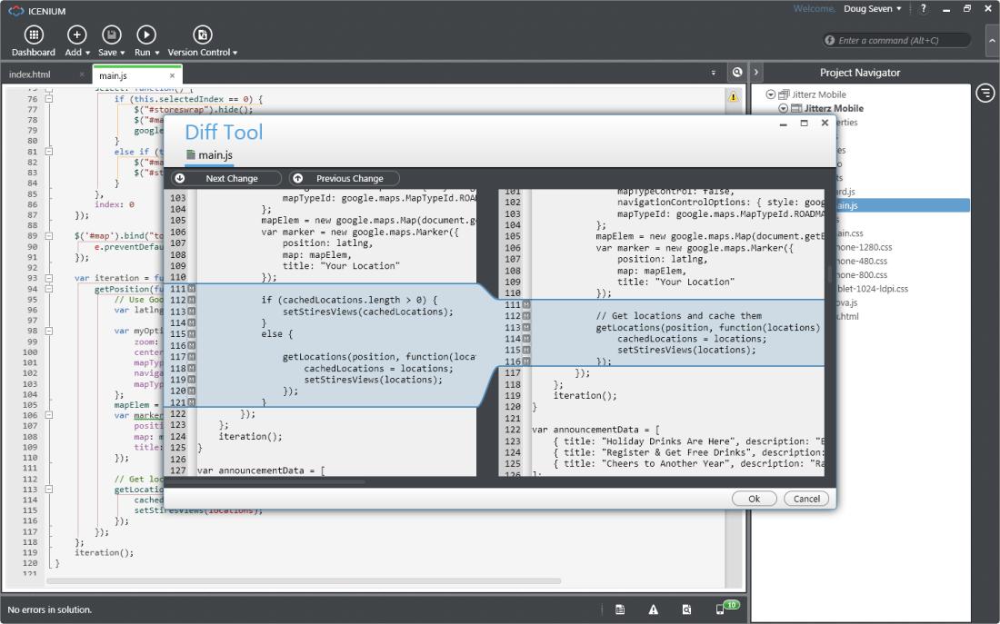 Icenium Graphite Code Editor with Version Control-Diff Window